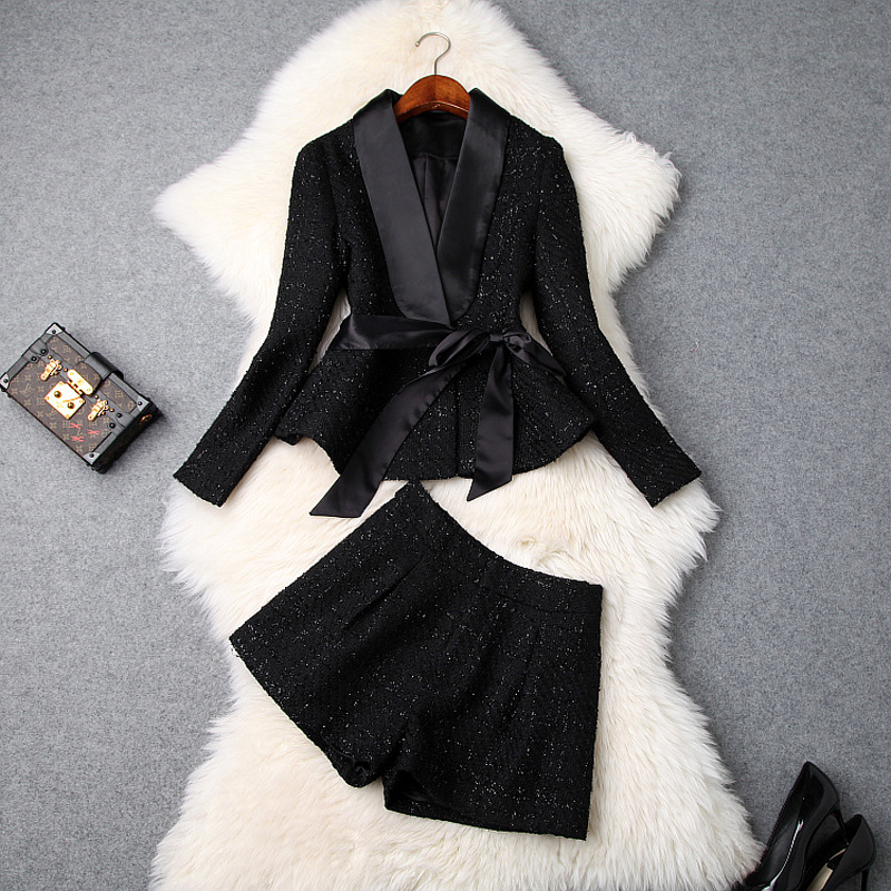 Women Girls Sexy Tweed Jacket Blazer Suit + Shorts Two Piece Set Sexy Outfits New 2019 Spring Autumn