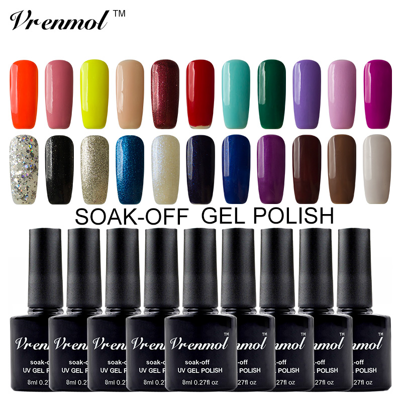 vrenmol 1pcs color uv led nail gel polish vernis semi permanent top base coat shining colors gel. Black Bedroom Furniture Sets. Home Design Ideas