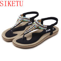 Beading Pearls Rhinestones Women Sandals Flat Heel Shoes Summer Style Bohemia Shoes Black Beach Ladies Shoes