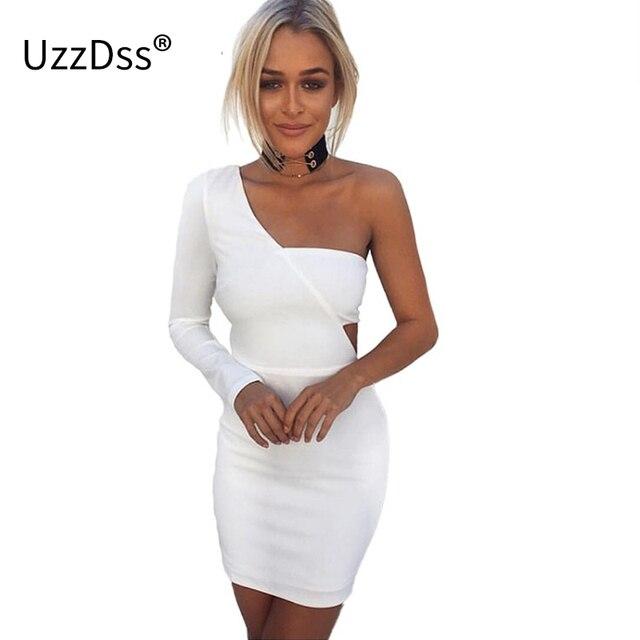1f527aa4286 UZZDSS Autumn Elegant One Shoulder White Bodycon Dress Backless Women Long  Sleeve Sexy Club Slim Short Dresses Party Vestido