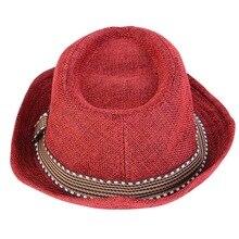 0574eb42b856d Cheap Summer Linen Panama Fedora Hats For Children Kids Men Striped Band  Jazz Borsalino Fast Dry