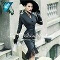 Le palais vintage 50 s серый шерстяной с длинным batwing рукавом покачиваться midi русалка рубашка dress pin up платье плюс размер 4xl элегантные платья