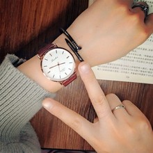 Пара часы кварцевые Для мужчин женские наручные часы Аналоговые черный коричневый моды простой кожаный ремешок Валентина Love подарок на день рождения