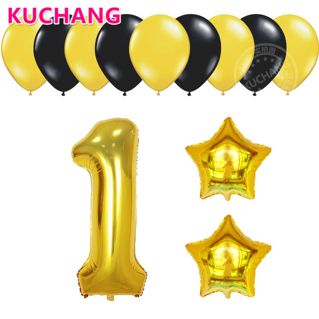 12pcs/lot 40inch Gold Number 1 2 3 1st Years Old Kids Boys Girls ...