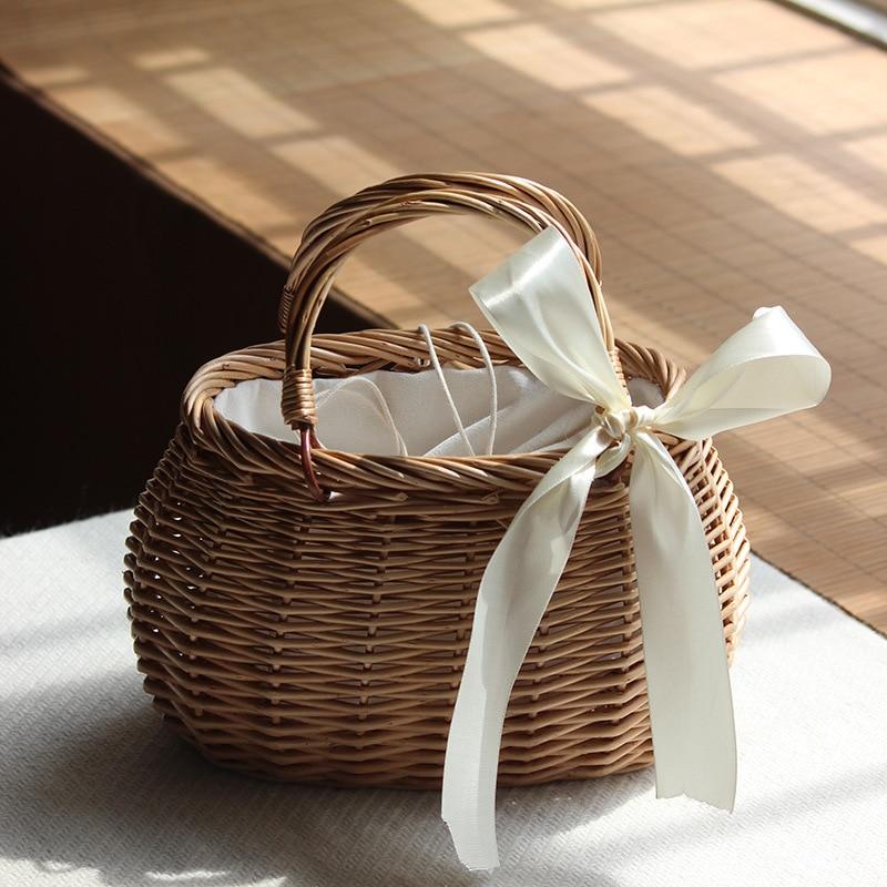 Ribbon Bow Tie-Top Handle Wicker Bag