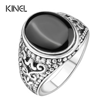 The Black Friday jewelry Sold On The Cheap Silver Color Ring Vintage Look Enamel Punk Rock Rings For Men(China)