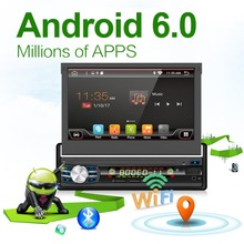 Car Radio 1 din Android 6.0 Wifi Autoradio Stereo Player Universal GPS Navigation Retractable Screen Bluetooth+Free camera usb