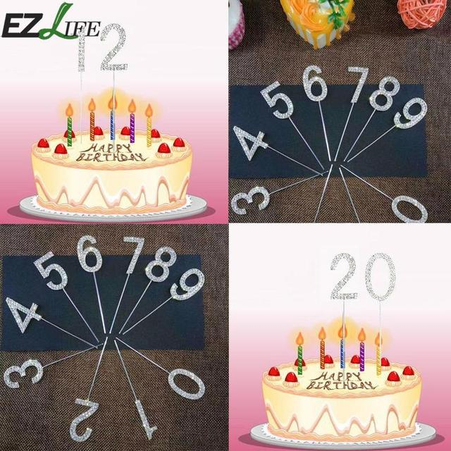 1pc Shinning Birthday Number Candle Silver Glitter Cake Toppers Party