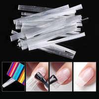 10 pçs unha arte fibra de vidro para gel uv diy unhas acrílico branco extensão do prego dicas com raspador diy prego spa ferramenta