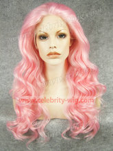 N7-3100B New Year Gift Pink Drag Queen Wavy Synthetic Lace Front Wig