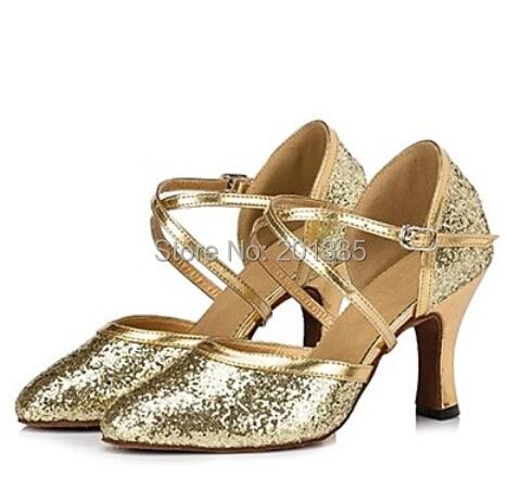 New Free Shipping Gold Glitter Closed Toe font b Dance b font Shoe Ballroom Salsa Latin