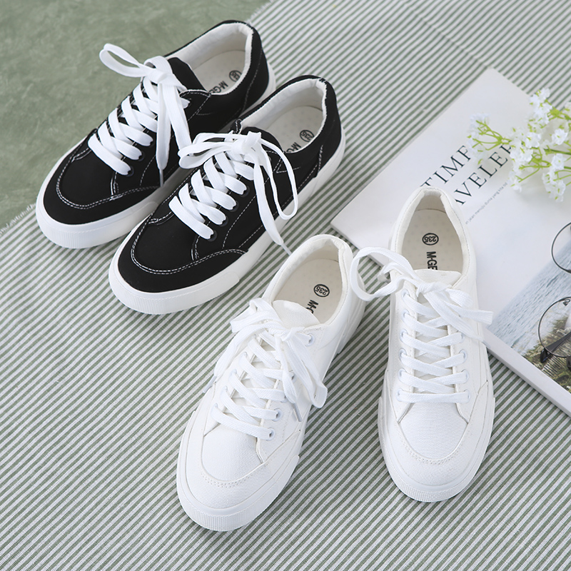 M.GENERAL Women White Shoes Canvas Female Black Shoes All Match Solid Color Casual Sneak ...