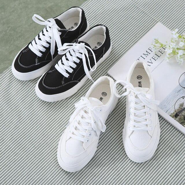 a55efcc63 M. Mulheres Sapatos de Lona Branca Femininos Sapatos Pretos GERAL Durante  Todo o Jogo Cor