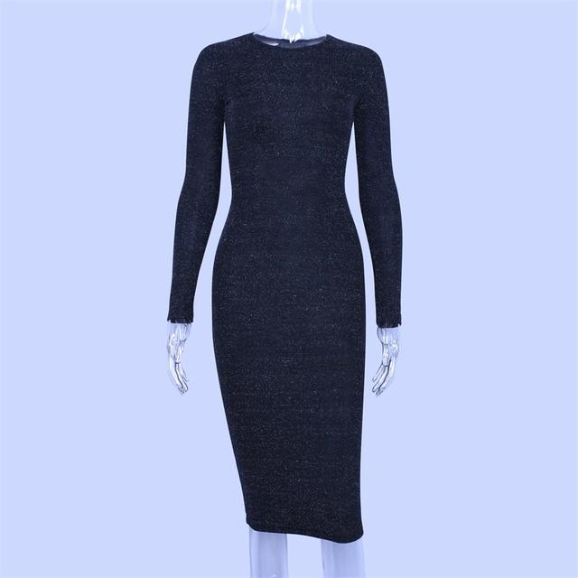 Black long sleeve bodycon dress knee length