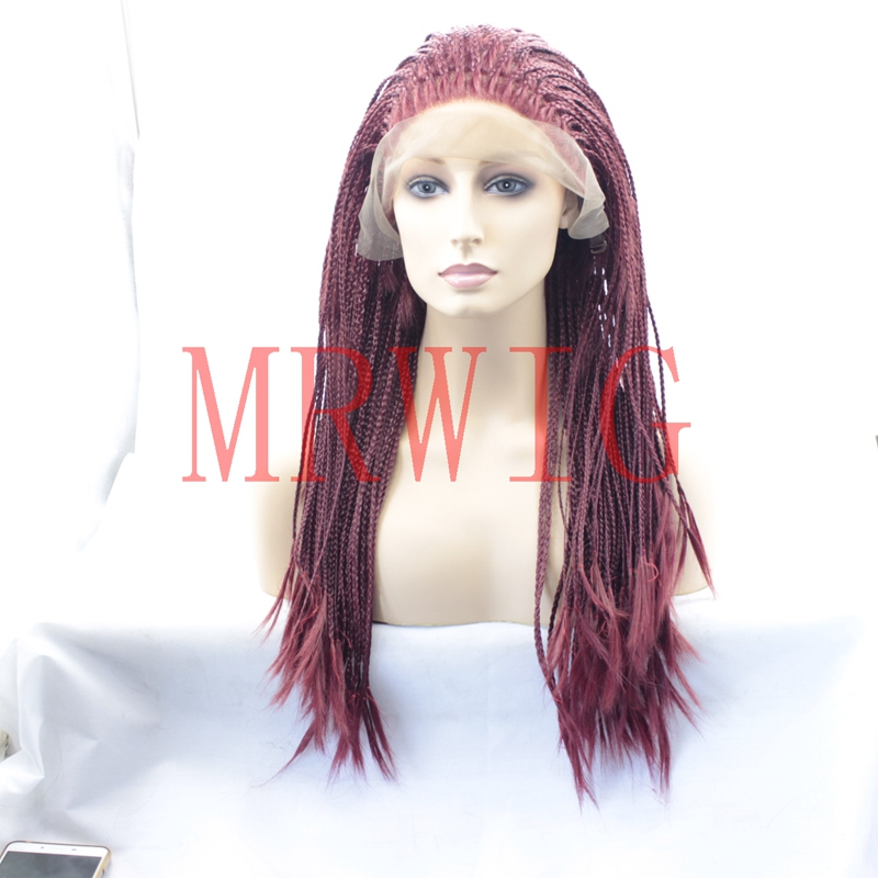 MRWIG Braided Box Braids Wig Sythetic Glueless Front Lace Wig Free Part Burgundy Hair Color 26inch 650g Real Hair