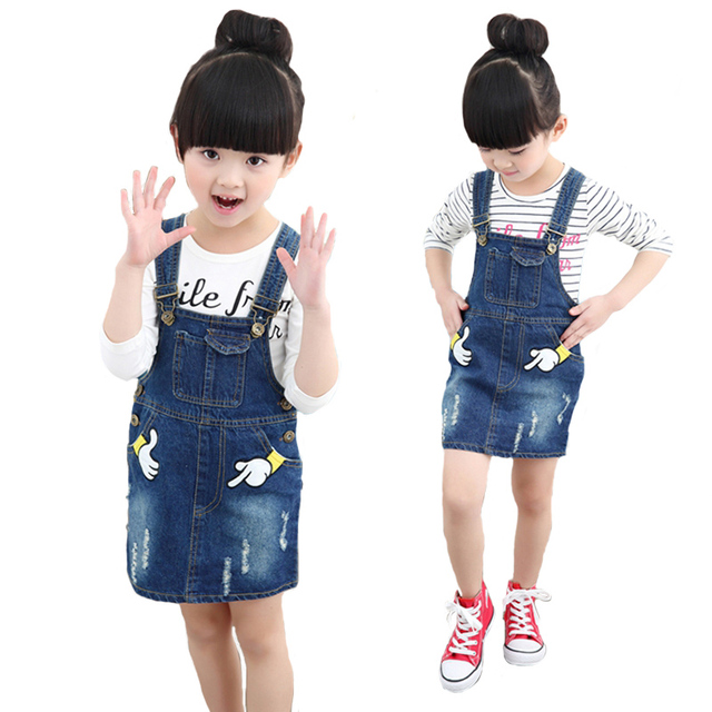 2017 New Spring Summer Baby Girls Dress Set Children Cute Cartoon Denim Skirt + Shirt Long Sleeve 2pcs Suit Kids Clothes Suit