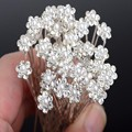 20Pcs Fashion Wedding Bridal Pearl Flower Clear Crystal Rhinestone Hair Pins Clips Bridesmaid Hairwear Jewelry Hair Accessories