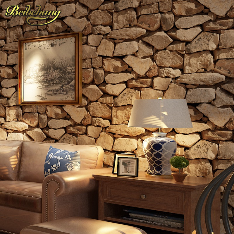 Beibehang papel de parede 3d antique stone wallpaper for for Wall coverings for living room