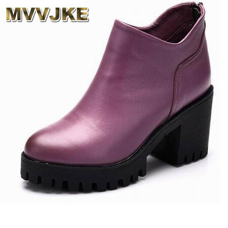 MVVJKE   Autumn spring female ankle boots with cut outs square heels round toe platform soft genuine leather women fashion bootsMVVJKE   Autumn spring female ankle boots with cut outs square heels round toe platform soft genuine leather women fashion boots