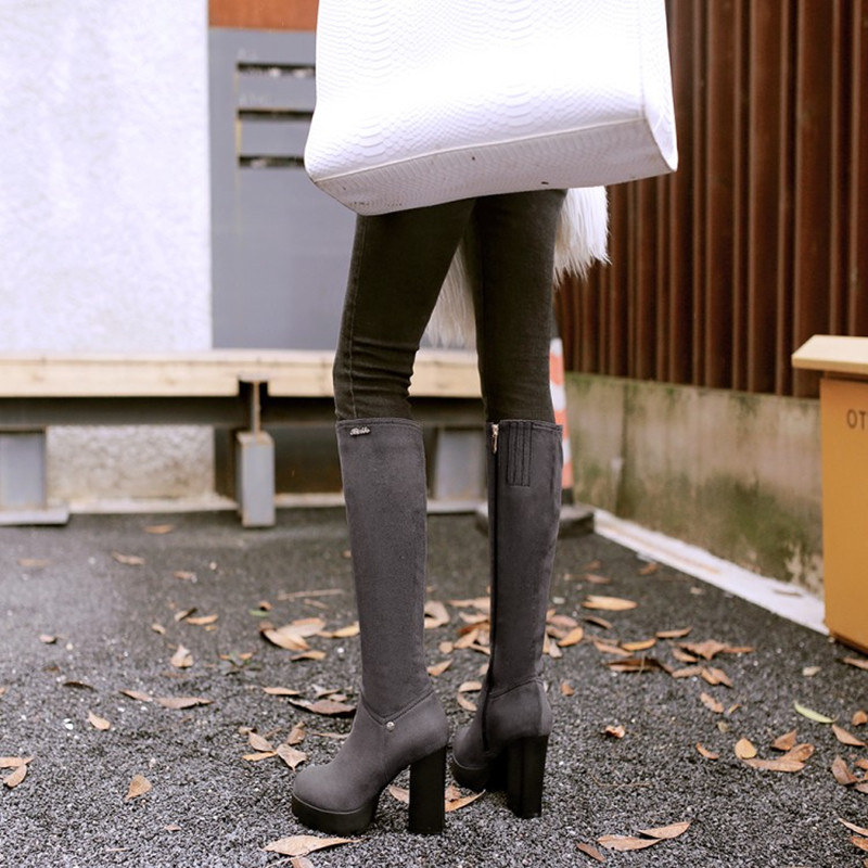 Plus Size 34 43 New Knee High Boots Autumn Winter Warm Women Boots high heel Lady Short Plush Stretch Fabric Fashion Boots Shoes in Knee High Boots from Shoes