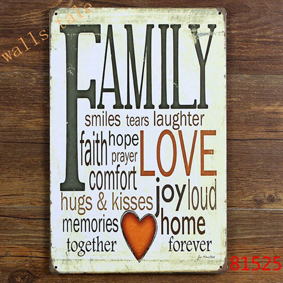 Retro FAMILY Tin Sign Metal Plaque Vintage Home Wall Decor ... on Home Wall Decor Signs id=14230