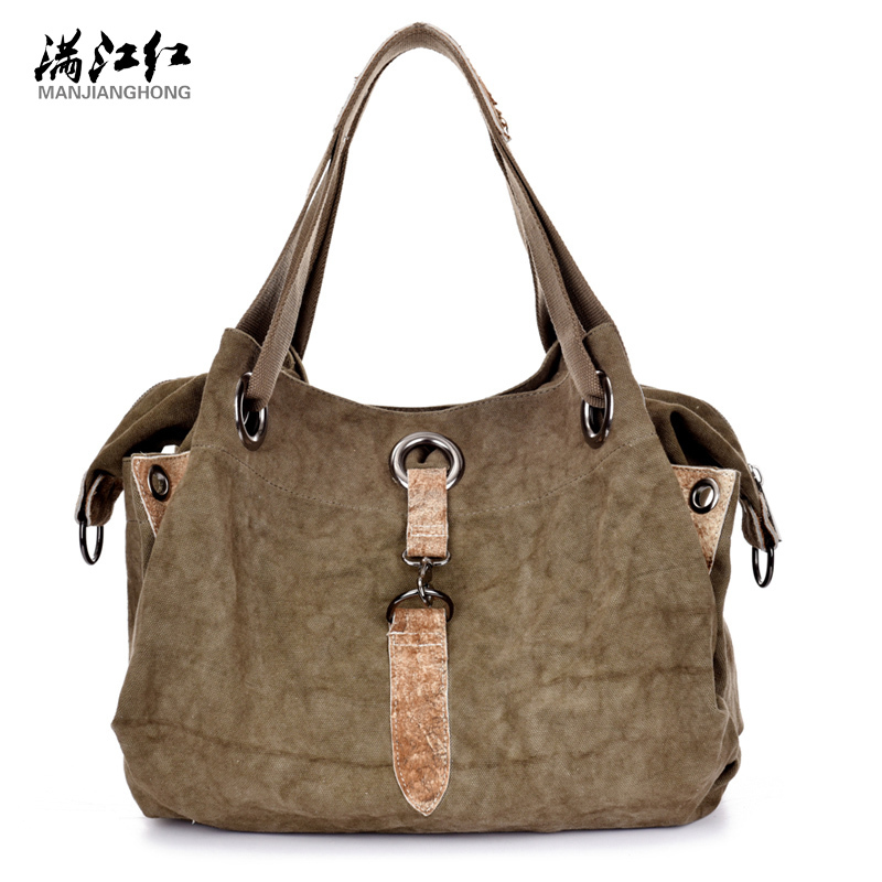 Manjianghong Fashion Canvas With Leather Vintage Classic Women Shoulder Bag Casual Tote Vogue