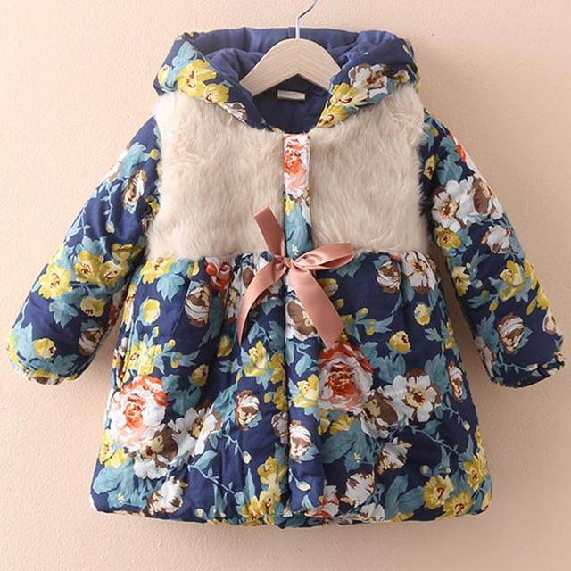 Meninas casaco de inverno mais grossa de veludo crianças casacos de inverno meninas flores casaco de inverno meninas Casual idade 3 - 12 roupa das crianças 2023