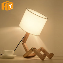 DIY Modern Lovely Robot Shape Wooden Table Lamp E27 Lamp Holder 110-220V Parlor Indoor Study Desktop Lighting Bedside Lamps(China)