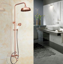 Antique Red Copper Bathroom Shower Faucet Mixer Wall Mounted Shower Bathtub Mixer Tap W/ Handheld Shower zrg504 antique red copper brass double ceramic handles wall mounted bathroom clawfoot bathtub tub faucet mixer tap w hand shower ana363