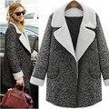 XL 3XL 5XL 2016 сгущает Плюс размер зимнее Пальто Женщин Лацкане овечьей Шерсти Пальто Негабаритных Кнопка гэри Длинную Траншею тонкий Пальто Серый пальто
