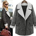 XL 3XL 5XL 2016 thicken Plus size winter Coat Women Lapel lamb Wool Coat Oversize Button gary Long Trench slim Coat Grey Coat