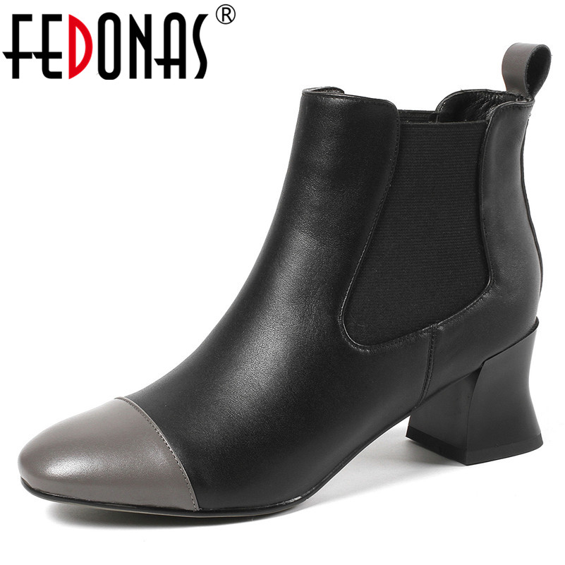 FEDONAS Brand Women Ankle Boots New Autumn Winter Short Martin Shoes Woman Thick High Heels Motorcycle Boots Ladies Office Pumps fedonas 2019 brand women buckles ankle boots thick heels autumn winter motorcycle boots platforms short martin shoes woman