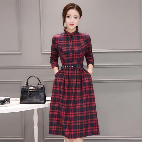 Plus Size Female Fall Vestidos 2019 New Spring and Autumn Casual Clothes  Women Long Sleeve Green Red Plaid Shirt Dresses AH406-in Dresses from  Women s ... 7f3b4685f34c