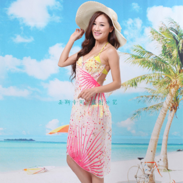 2015 new fashion fireworks ladies beach towel Beach Dress ...