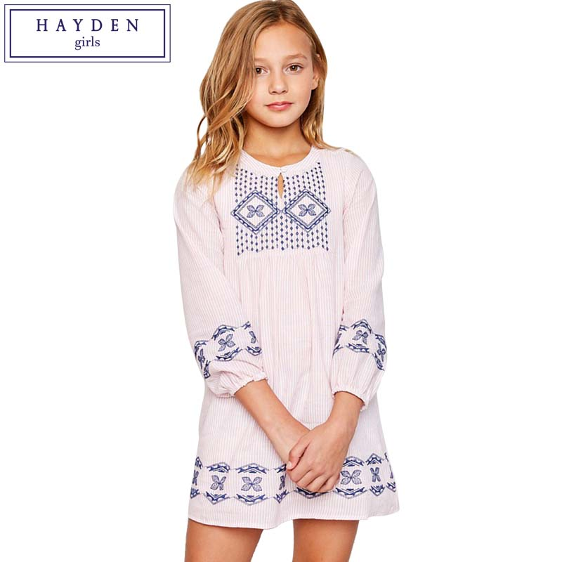 HAYDEN Girls Bohemien Cotton Embroidery Dresses 2018 Spring Summer Brand Clothes for Teen Girls Striped Dress with Long Sleeve hayden girls boho ethnic dress designs teenage girls national embroidered dresses flare sleeve loose fit dress for 7 to 14 years