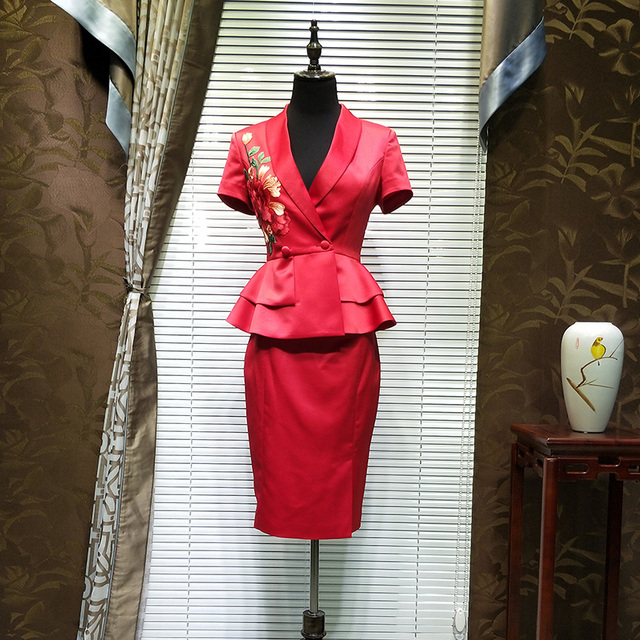 f137e5477 Summer New Chinese red Skirt Suits Uniform Embroidered Two-piece Set Blazer  & Suits High