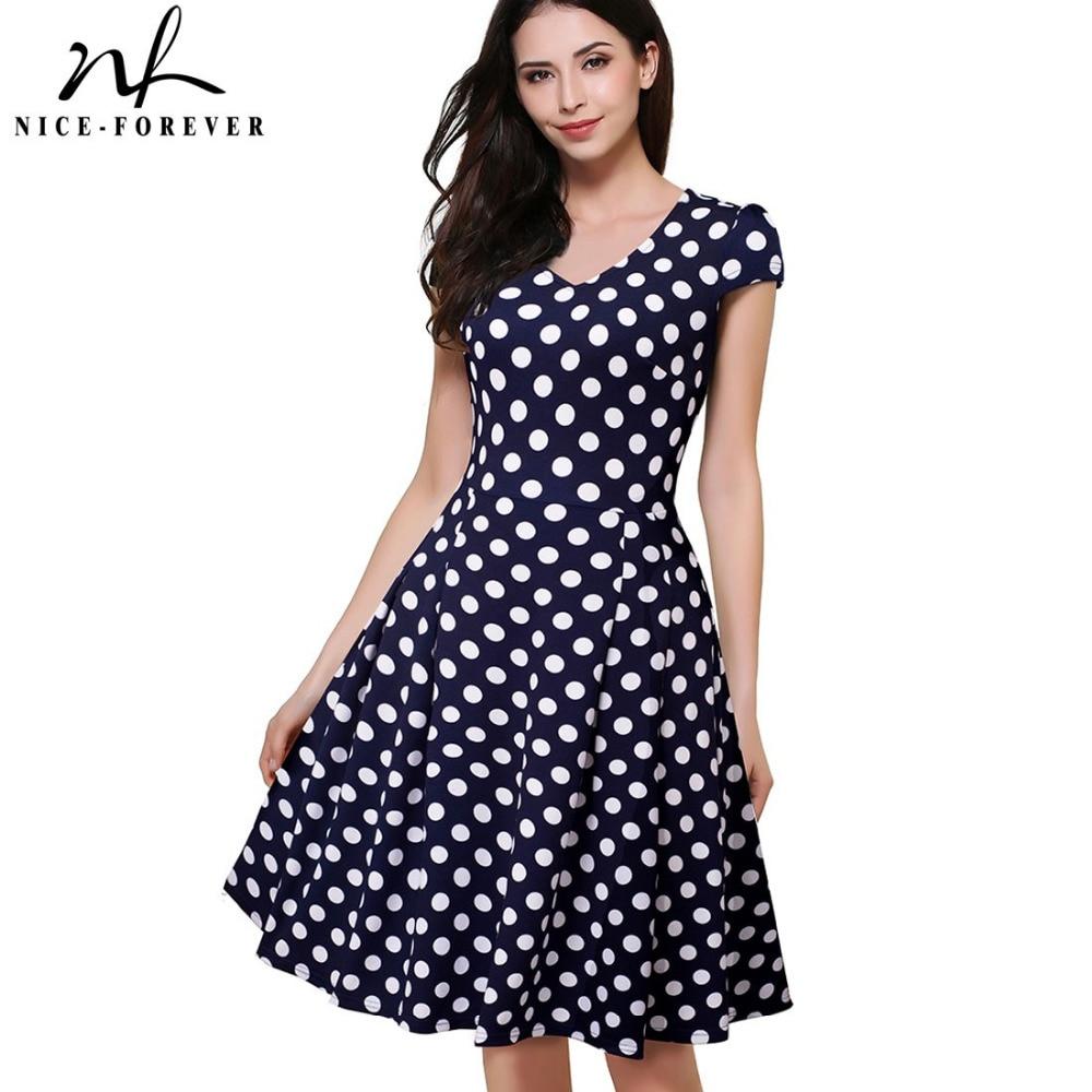 Nice-forever Summer Elegant Polka Dots Print Charming Women V Neck Cap Sleeve Work Office A-Line Swing Causal Dress A048