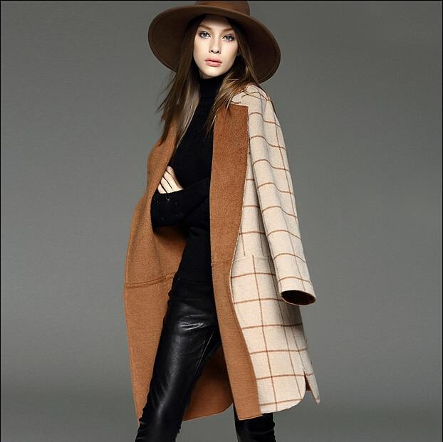 af3f4a2f887 Double wear moda abrigo de invierno guapos elegantes de la cintura delgada  de camello a cuadros abrigos para mujer larga floja de lana de pelo largo  ...