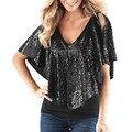 S-2xl Летние Полные Люди рубашки женщины Batwing рукавом Футболка женщины повседневная V-образным Вырезом Блесток Топ Тис Мода camisetas mujer Свободный W1