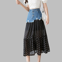 acc5c1c741e548 HAMALIEL High Street Summer Skirt Women Fashion Jeans Patchwork Chiffon  Long Skirts Boho Dot Print Tassel