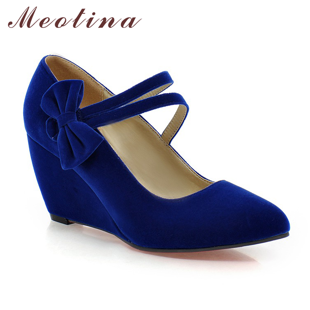 84bf76f8310d6 US $20.42 50% OFF|Meotina Shoes Women Pumps Spring Pointed Toe High Heels  Mary Jane Ladies Shoes Wedge Heels Bow Wedges Aprcot Blue Big Size 9 10-in  ...