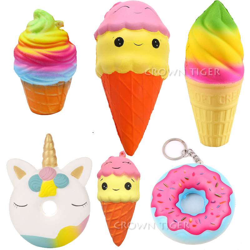Kawaii 10cm Jumbo Colorful Squishy Rainbow Ice Cream Cone PU Donut Squishy Slow Rising Squishes Toys For Children Stress Relief