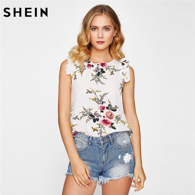 Round Neck Sleeveless Floral Blouse