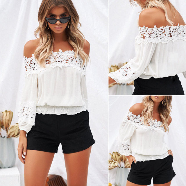 c1d151785b Fashion Women Off Shoulder Long Sleeve Casual Blouse Loose Lace Shirt Tops  Clothes Summer Casual Shoulderless Chiffon Clothing