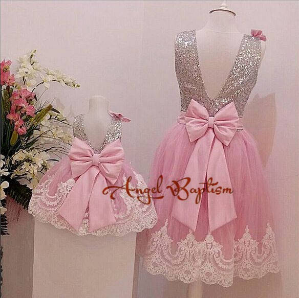 907dc6052420 Pink backless baby dress silver sequin lace tulle toddler pageant ...