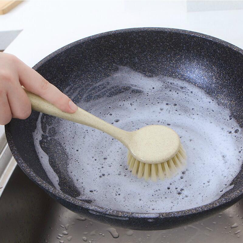 vanzlife Pot Artifact Handle Cleaning Brush Oil Brush Household Scrub Dishwasher Scoop Cleaning