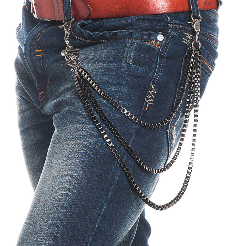Mens Motorcyle Keychain Jean Biker Wallet Chains Pirates Charm Three Layers Hinges Belt Rock Punk HipHop Pant Trousers Chain