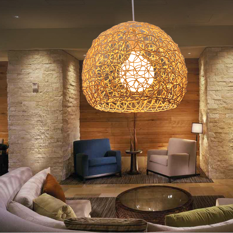Bamboo round ball Pendant Lights for balcony Simple Art bar restaurant Chinese rattan aisle study teahouse pendant lamps ZA FG4 new arrival modern chinese style bamboo wool lamps rustic bamboo pendant light 3015 free shipping