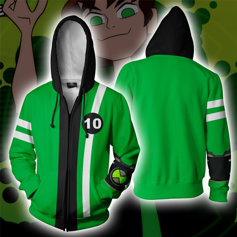 Ben10 Alien  Cosplay Hoodie Force Ben Sweatshirt Costume Zip Up Coat Jacket Tops