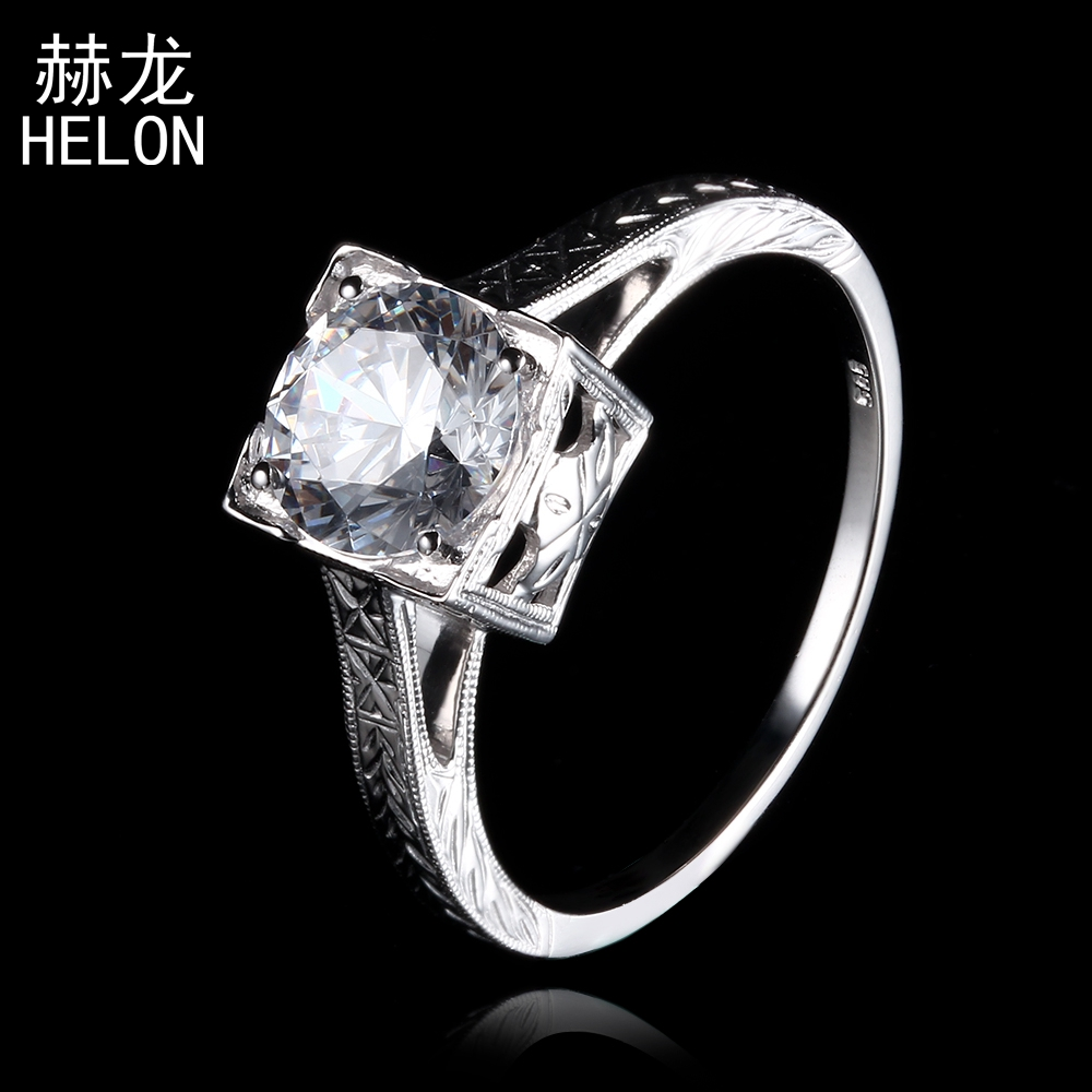 925 Sterling Silver 100% Genuine AAA Graded Cubic Zirconia 8mm Round Antique Jewelry Engagement Wedding Party Ring wholesale